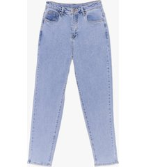 womens now watch me high-waisted mom jeans - light blue