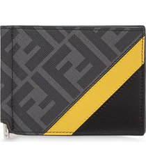 fendi monogram slim money-clip wallet - black