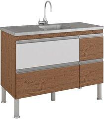 gabinete para cozinha prisma 86x114cm amêndoa e branco