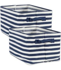 design imports polyethylene coated herringbone woven cotton laundry bin stripe french rectangle small set of 2