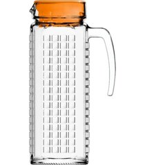 jarra de vidro sture móveis ladrilhos com tampa laranja para suco 1,2 litros
