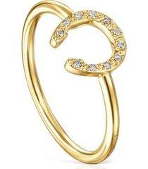 anillo good vibes oro y diamantes dorado tous