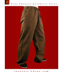 100% cotton brown kung fu martial arts tai chi pant trousers tailor custom made
