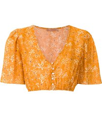 clube bossa runa printed crop blouse - orange