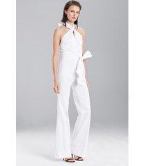 denim jumpsuit, women's, white, cotton, size 8, josie natori