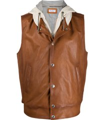brunello cucinelli layered sleeveless hoodie - brown