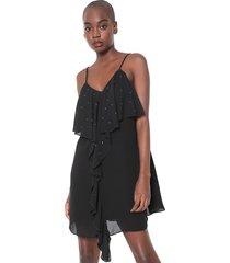 vestido my favorite thing(s) curto babados aplicações preto - kanui