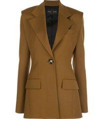 proenza schouler accented shoulder single-breasted blazer - brown