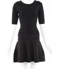 herve leger clara drop waist dress black/metallic sz: s