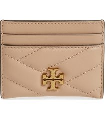 women's tory burch kira chevron leather card case - beige
