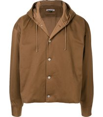 hed mayner oversized button-up hoodie - brown