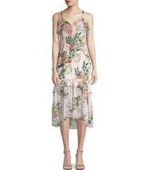josie floral silk midi dress