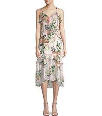 josie floral silk midi dress