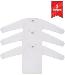 camiseta manga larga blanca santana cuello redondo x3 unidades
