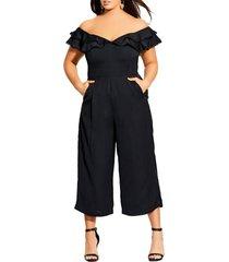 plus size women's city chic renata off the shoulder jumpsuit, size xx-large - black