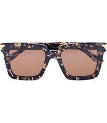 bottega veneta eyewear tortoiseshell check square sunglasses - brown