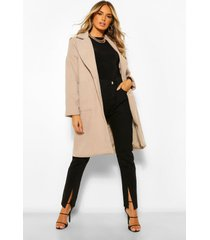 oversized collared wool look coat, stone