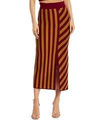 stripe merino wool midi skirt