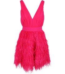 alice+olivia tegan feather party nylon dress