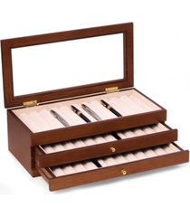 bey-berk 3 level 36 pen storage case with glass top