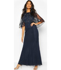 bridesmaid hand embellished cape maxi dress, navy