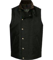addict clothes japan press stud boa vest - black