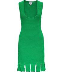 bottega veneta green knitted dress with fringes