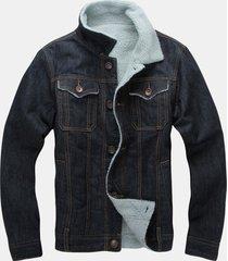 giacca da uomo alla moda in morbido denim invernale