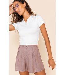 women's norelle plaid soft shorts in rust by francesca's - size: l