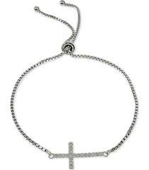 giani bernini cubic zirconia east west cross slider bracelet in sterling silver, created for macy's