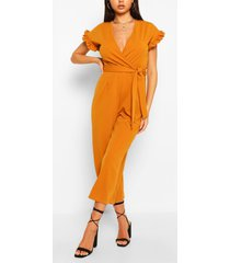 ruffle sleeve wrap belted jumpsuit, mustard