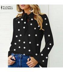 zanzea manga larga para mujer casual del lunar blusa de la gasa señoras de la oficina tapas de la camisa -negro