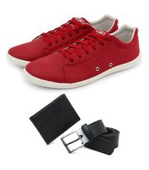 kit 1 sapatênis casual + carteira slim + cinto - vermelho ro02
