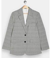 black and white check single breasted blazer - monochrome