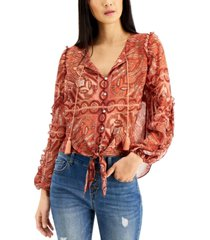 inc petite printed tie-front tassel shirt, created for macy's