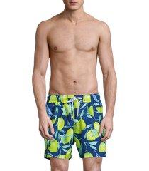 boss hugo boss men's lemon shark swim trunks - blue - size xl