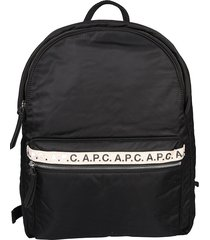 a.p.c. black nylon backpack with logo