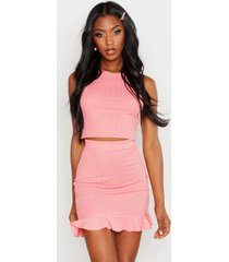 plaited rib racer crop top, coral