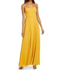 women's lulus dreamy romance backless maxi dress, size small - yellow
