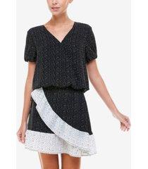 q & a dot-print wrap skirt