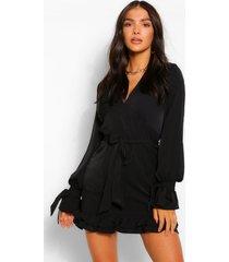 geribbelde mini jurk met laag decolleté en ceintuur, black
