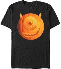 disney pixar men's monsters inc. halloween pumpkin mike big face short sleeve t-shirt