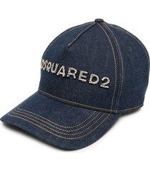 woman blue denim dsquared2 crystals baseball cap