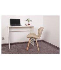 kit escrivaninha 90cm branca + 01 cadeira eiffel slim - nude