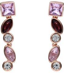 orecchini pendenti con pietre sui toni del viola in metallo rosato per donna