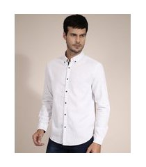 camisa de algodão comfort listrada manga longa branca