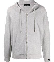 diesel micro-waffle zip-up hoodie - grey