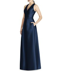 women's alfred sung cutout back satin a-line gown