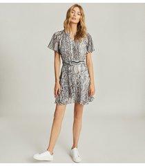 reiss mildred - swirl-print pleated mini dress in blue, womens, size 14