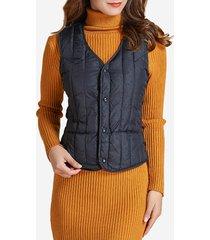 cappotto della maglia del collo a v di puffer di colore solido allineato cotone casuale delle donne